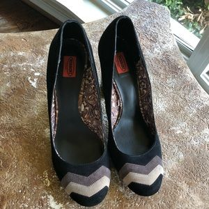 Missoni FT Suede Chevron Heels Black Gray